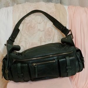 Black Leather Satchel by Gianni Bini